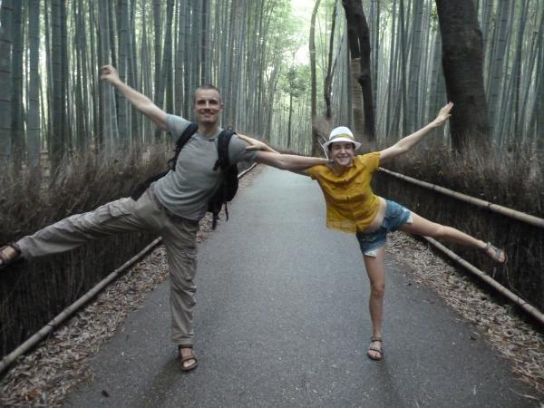 カウチサーフィン(チェコ共和国、ミハエル(スロバキア)、ルカ(ルーマニア))、京都・嵐山の竹林にて
