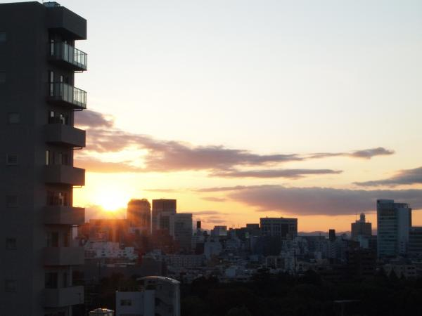 屋上からの夕日