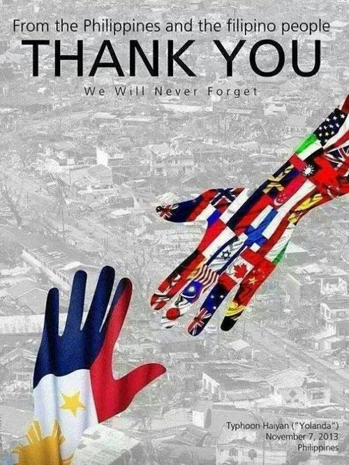 フィリピンの台風被害支援感謝ポスター、なぜ太極旗が抜けたのか~製作上の失敗?