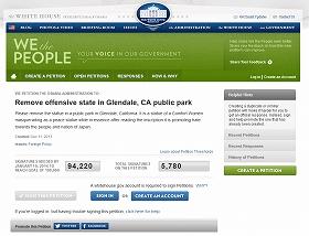 「テキサス親父」ことトニー・マラーノさんが呼びかけているホワイトハウスへの請願。約6000筆が寄せられている(13日現在)