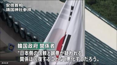 韓国 靖国参拝を厳しく非難