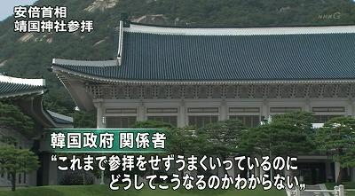 韓国政府の関係者は「日韓両国が互いに努力してきたのが水の泡になる。これまで参拝をせず、うまくいっているのにどうしてこうなるのか分からない。