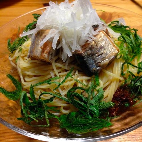 4秋刀魚の缶詰パスタ