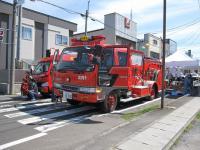 消防車の展示。衣装あります(お子様のみ)