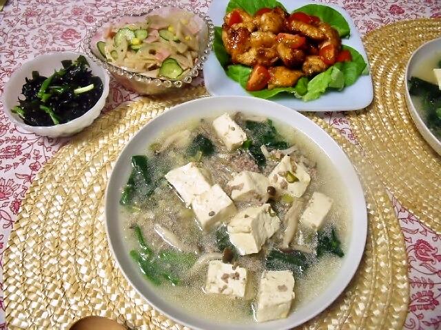 マーボー 豆腐 献立