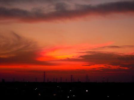 真っ赤な夕焼け