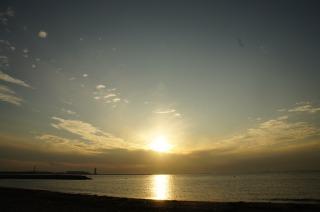 夕陽を見てました