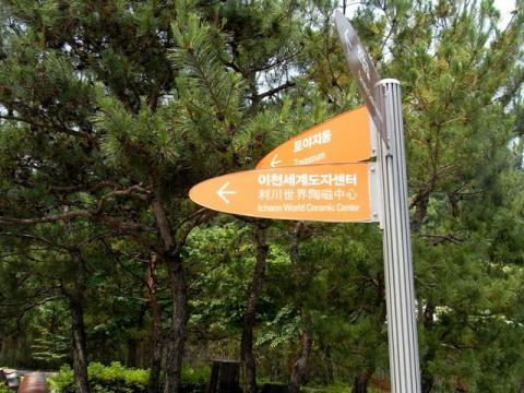 利川世界陶磁センターへの標識