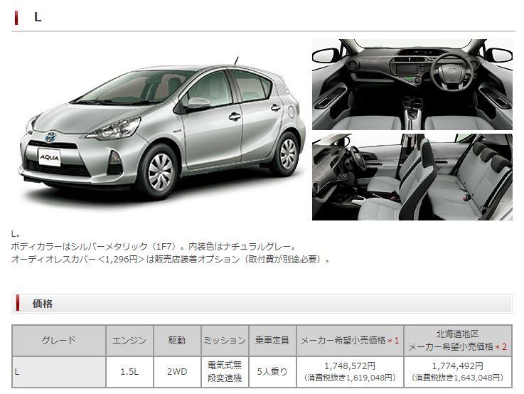 トヨタ アクア 価格