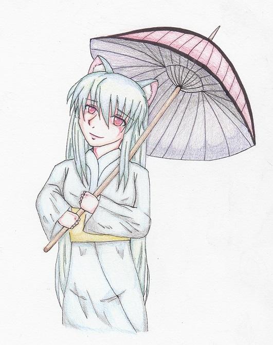 和傘を持ったくろ乃ちゃん 今日ものんびりと 2014/11/08