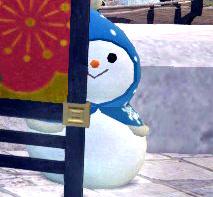 頭巾雪ダルマ