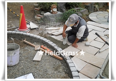 砂岩プレート施工モルタル
