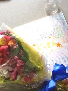 花と色紙とプレゼント