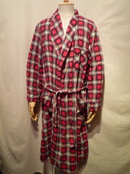 60's PRINTED FLANNEL GOWN L