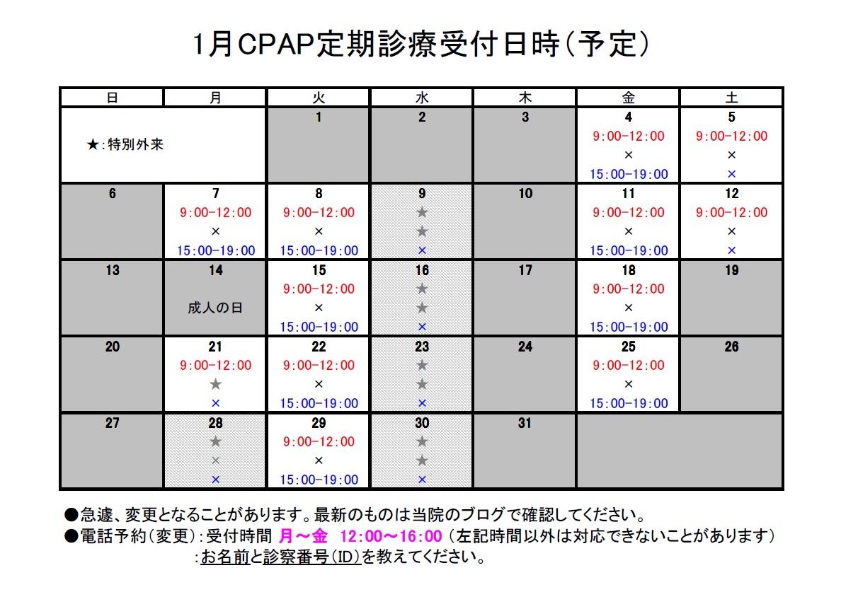 CPAP定期診療予定2013年1月