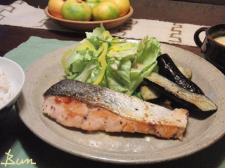 Oct18_秋鮭と茄子のソテー