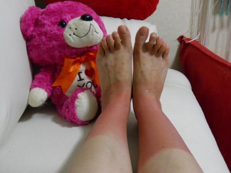 水玉の真っ赤な靴下