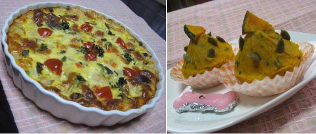 チキンのキッシュ&かぼちゃのモチモチモンブラン