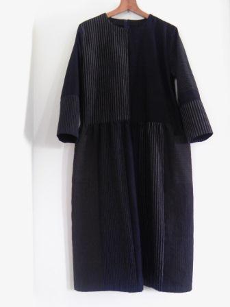 縞木綿&藍布ワンピース