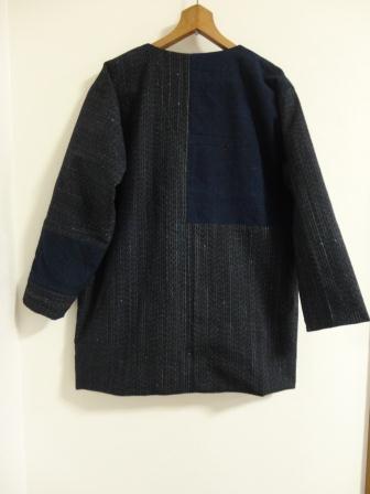 縞木綿リバーシブルショートジャケット後