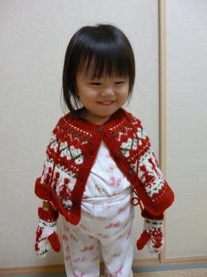 手編みのケープとおそろい手袋