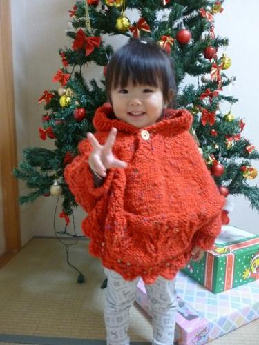 赤ポンチョ 手編み 毛糸ピエロ 無料編み図