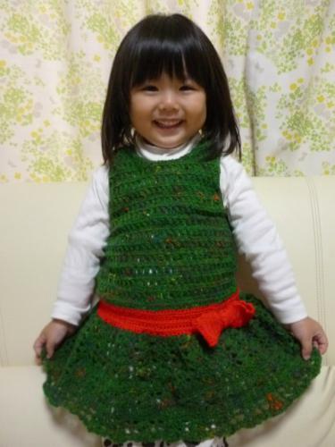毛糸 ワンピース 子供 クリスマス ベビー 鈎針 編み物
