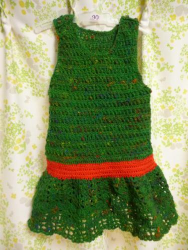 毛糸 編み物 ワンピース ジャンパースカート キッズ 子供 冬 クリスマス
