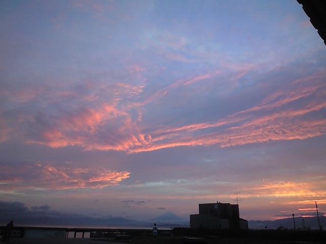 夕焼け・富士山-江ノ島