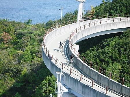 来島海峡大橋のループを降りる両氏
