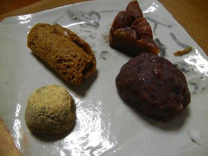 仙太郎/黒むし、かわつき栗むし、きな粉、ぼた餅