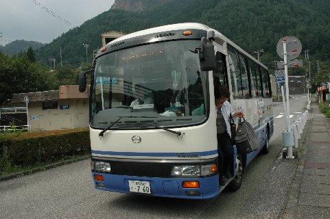 銅山観光到着の東武バス