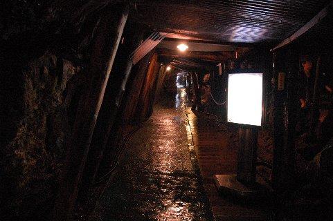 徒歩で湿気た坑内を散策