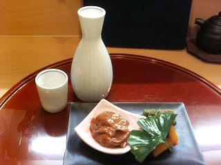 日本酒白鷹と当初お通し