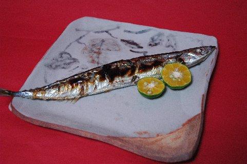 焼き秋刀魚とシークワーサー