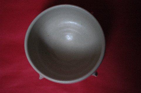 李朝白磁鉢形割高台茶碗写し・見込み