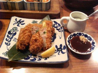 カキフライとカツ丼定食