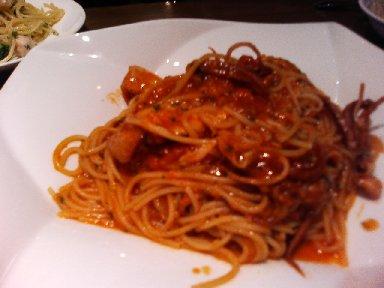 ヤリイカとトマトソーススパゲッティ