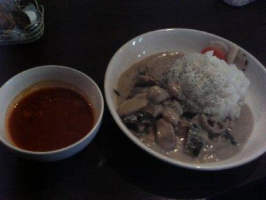 グリーンカレーとスープ