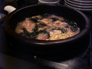 ・ベーコンと若芽のスープ