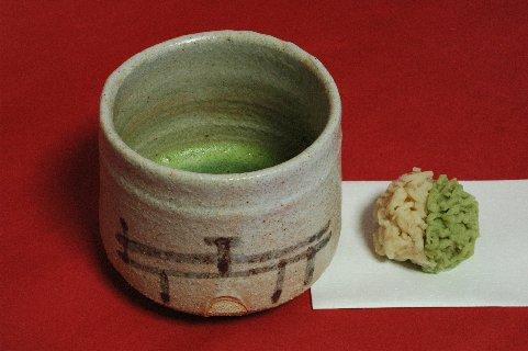 絵志野筒茶碗 銘「橋姫」写し