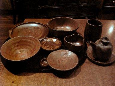 使われた備前焼の食器