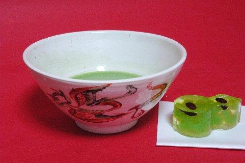 鳳凰・赤絵呉須習作茶碗