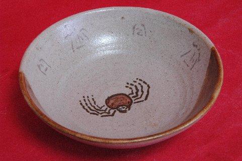 織部かにの絵平茶碗写し 見込み