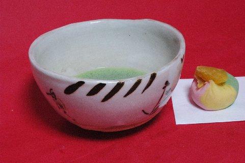 絵唐津葦鷺文茶碗写し