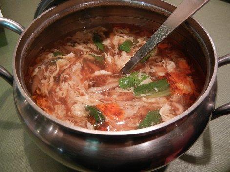 酢とラー油のきのこスープ