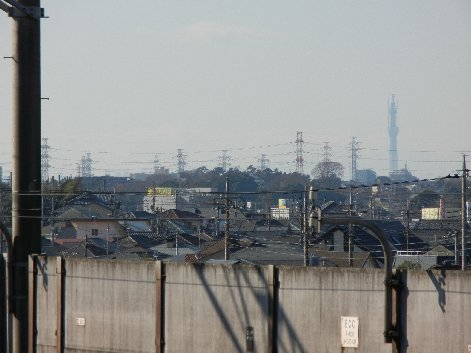 飯山満駅ホームから見えた、スカイツリー