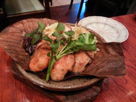 カキ朴葉焼