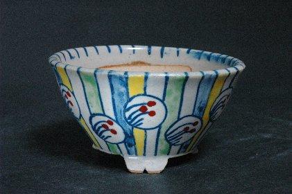 色絵薄丸文丸鉢