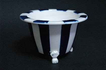 瑠璃釉ストライプ文丸鉢